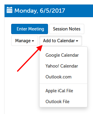 Calendars available to sync with session
