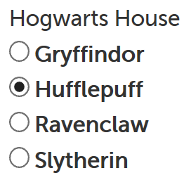 Radio button example rendered, Hufflepuff selected as default