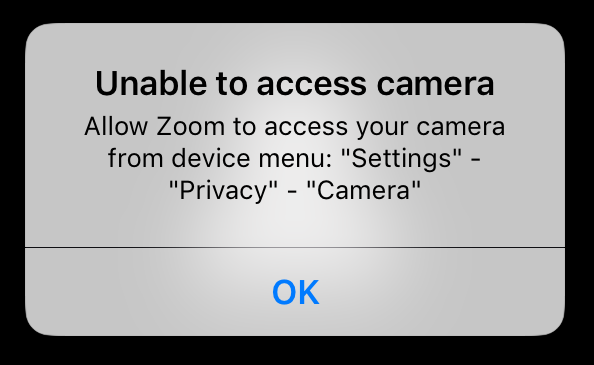 Unable to access camera - Allow Zoom to access your camera from device menu: 'Settings' - 'Zoom' - 'Privacy' - 'Camera'