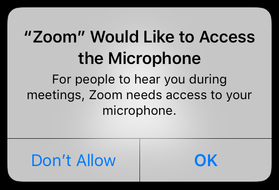 Zoom Would Like to Access the Microphone - For people to hear you during meetings, Zoom needs access to your microphone