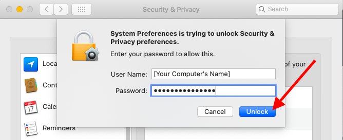 System Preferences is trying to unlock Security & Privacy preferences. Enter your password to allow this.